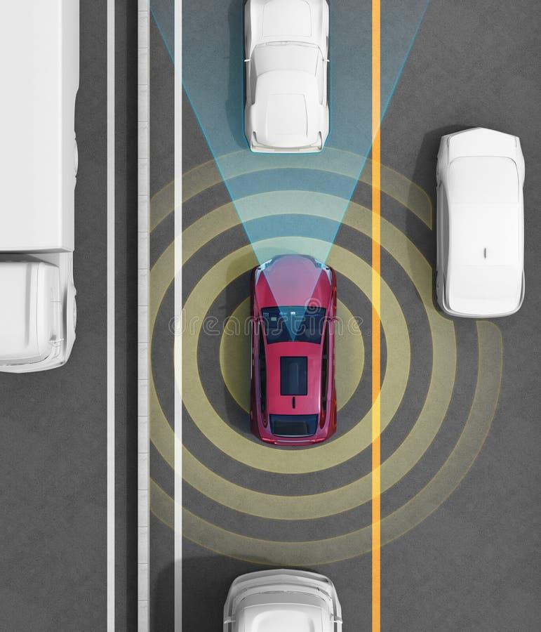 Concept illustration for autonomous car. Concept illustration for auto braking, lane keeping functions. 3D rendering image royalty free illustration
