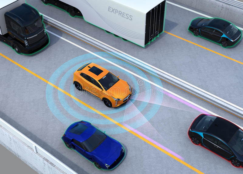 Concept illustration for autonomous car. Concept illustration for auto braking, lane keeping functions. 3D rendering image stock illustration