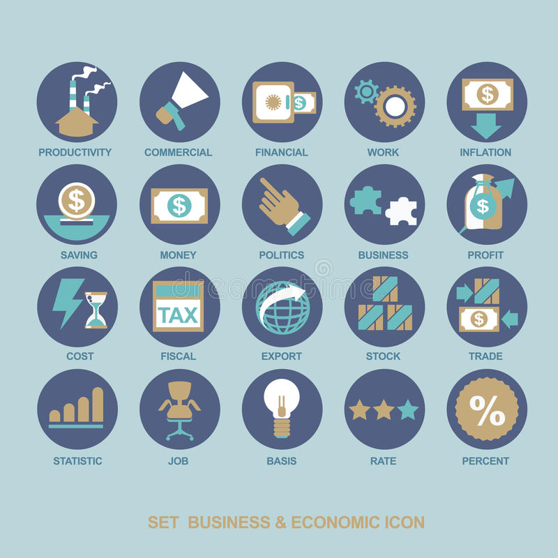 Icon set for business stock image