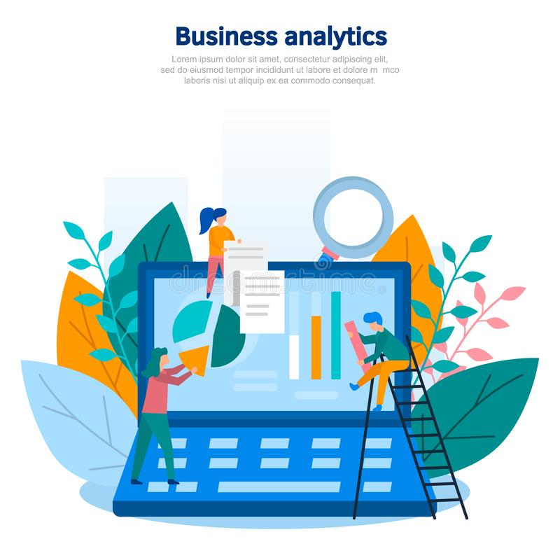 Concept illustration of business analytics, information gathering, data analysis, graphs and charts, team game, market research, o vector illustration