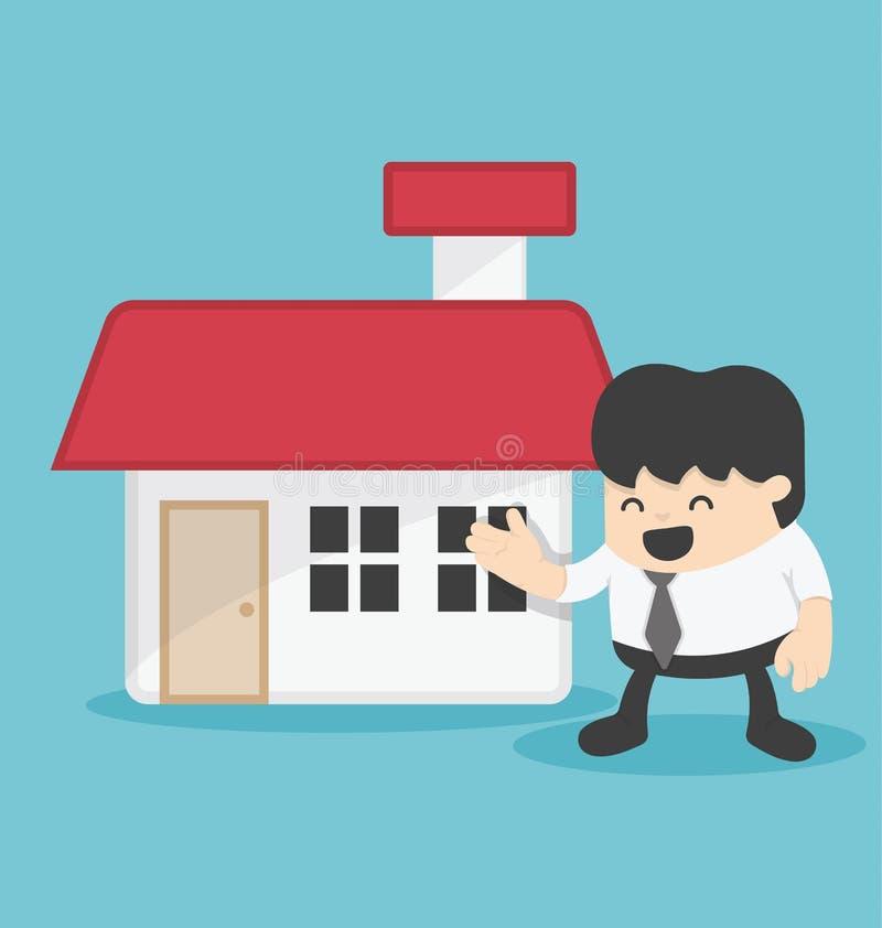 Concept illustration business offering home loans or house stock illustration