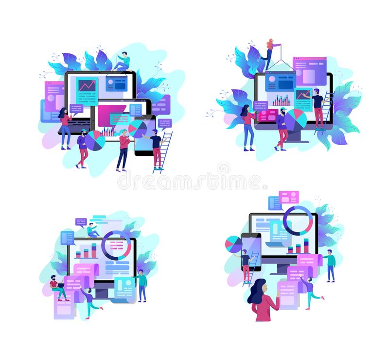 Concept illustration of business, office workers analysis of the evolutionary scale, SEO, market research Web site. Coding, internet search optimization vector illustration