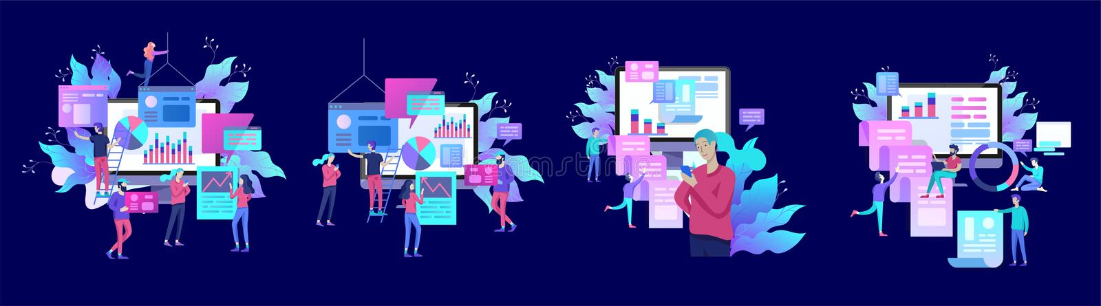 Concept illustration of business, office workers analysis of the evolutionary scale, SEO, market research Web site. Coding, internet search optimization stock illustration