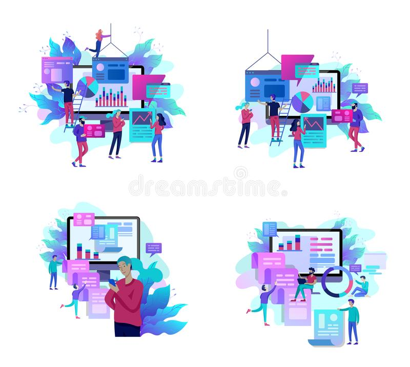 Concept illustration of business, office workers analysis of the evolutionary scale, SEO, market research Web site coding,. Internet search optimization vector illustration