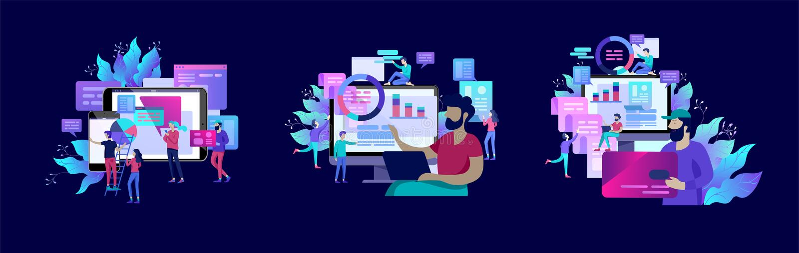 Concept illustration of business, office workers analysis of the evolutionary scale, SEO, market research Web site coding,. Internet search optimization royalty free illustration