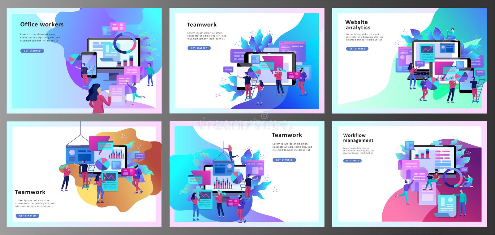 Concept illustration of business, office workers analysis of the evolutionary scale, SEO, market research Web site. Coding, internet search optimization royalty free illustration