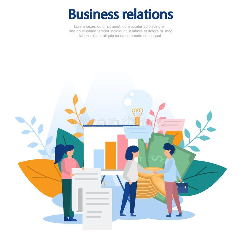 Concept illustration of business relationships, cooperation, lucrative contract, business interaction, relationships, profit. Colo. R flat vector design. For web royalty free illustration