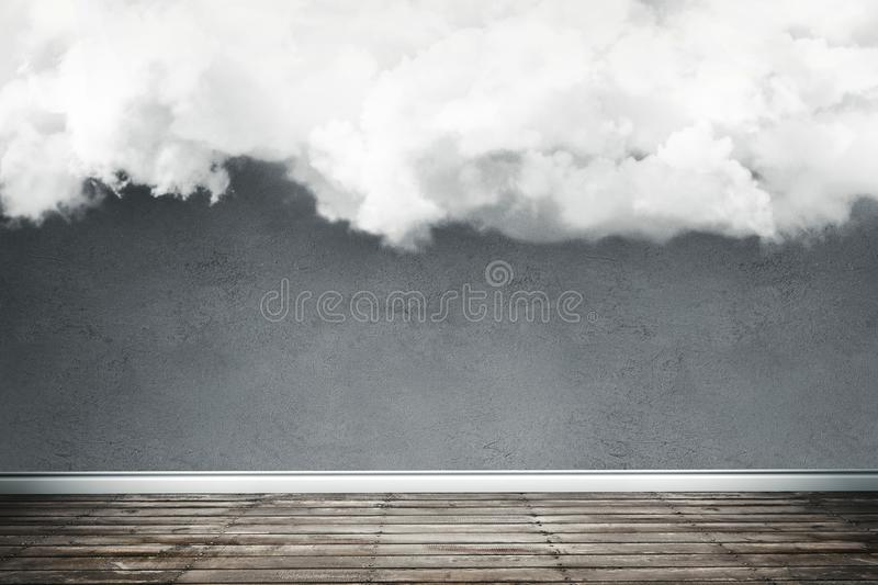 Concept illustration of empty light room with big fluffy cloud i royalty free stock photography