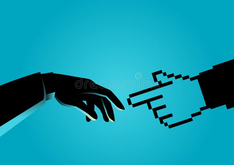 Human hand touching pixelated hand vector illustration