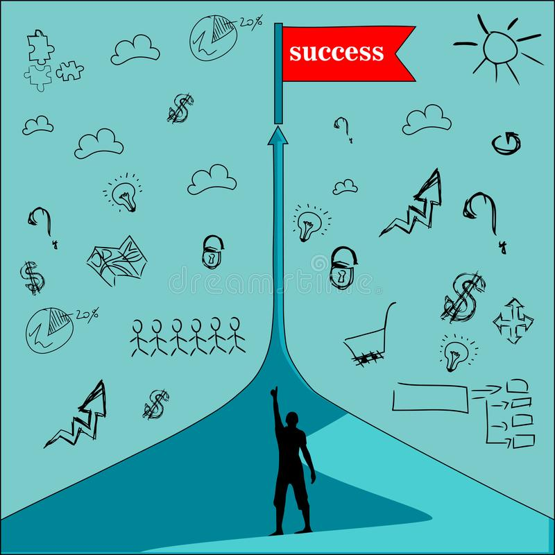 Road to business success stock illustration
