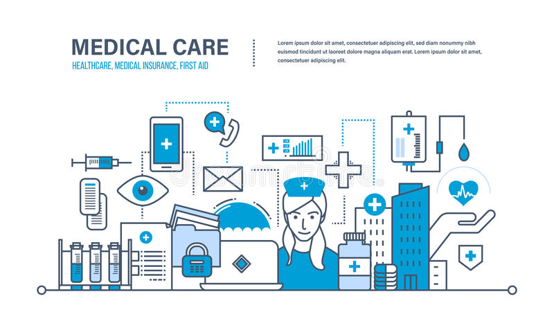 Concept of illustration - medical care, healthcare, insurance, first aid. Modern medicine and technology, medical care, healthcare and medical insurance, protect vector illustration