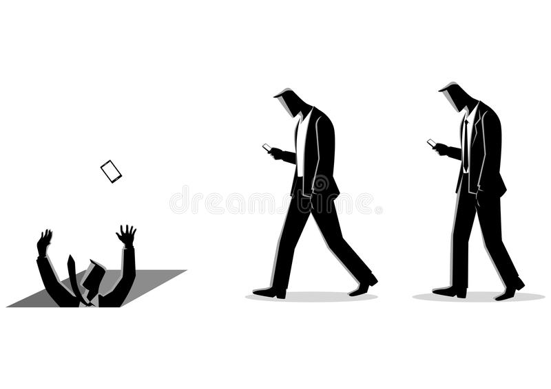 Social media impact. Concept illustration of men with cellular phones, concept for ignorance, social media impact royalty free illustration