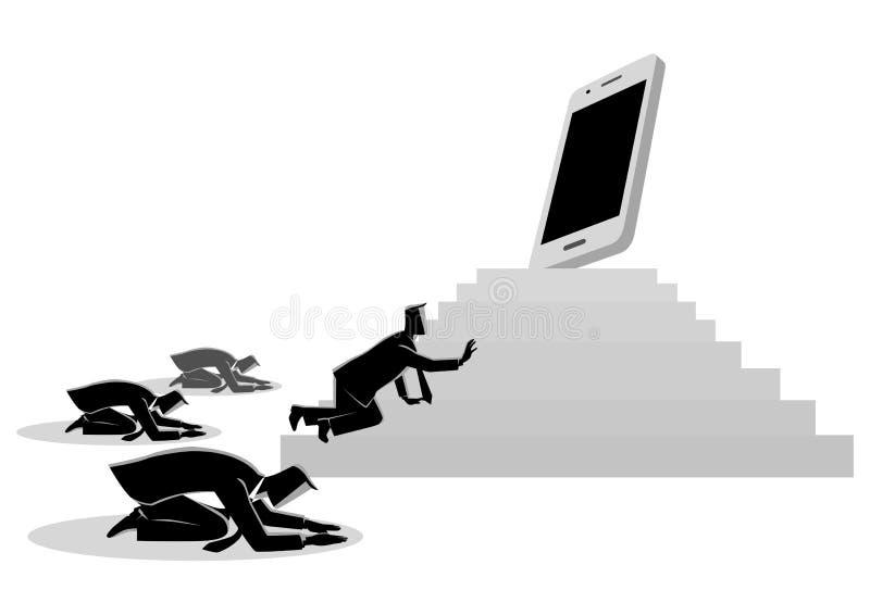 Men worshiping a gadget or smart phone royalty free illustration