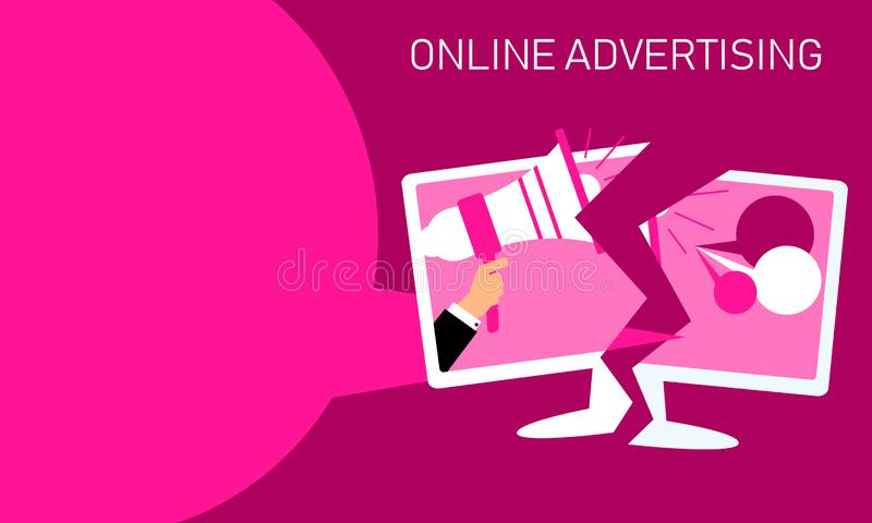 Concept illustration for online advertising. Vector flat design of monitor with businessman holding megaphone. stock illustration