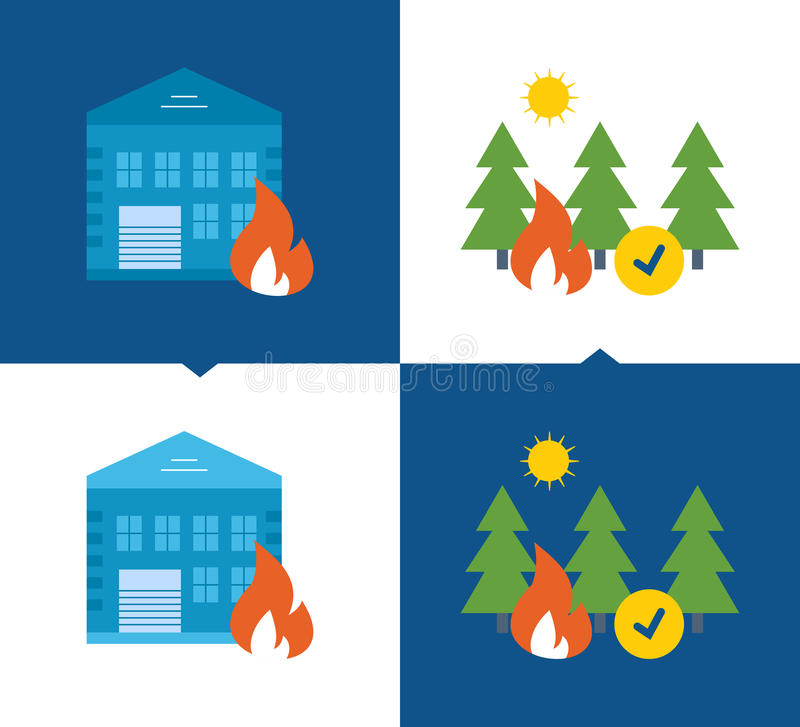 Concept of illustration Protection, security of property, forests from fires, home insurance, . Concept of illustration - protection and security of property stock illustration