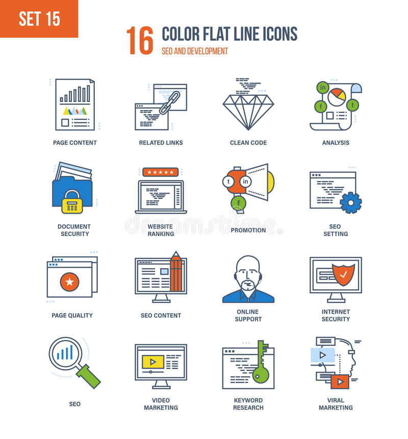 Concept of illustration - seo and data safety, development, technology. Color Flat Line icons set of seo and data safety, development, technology, analytics royalty free illustration