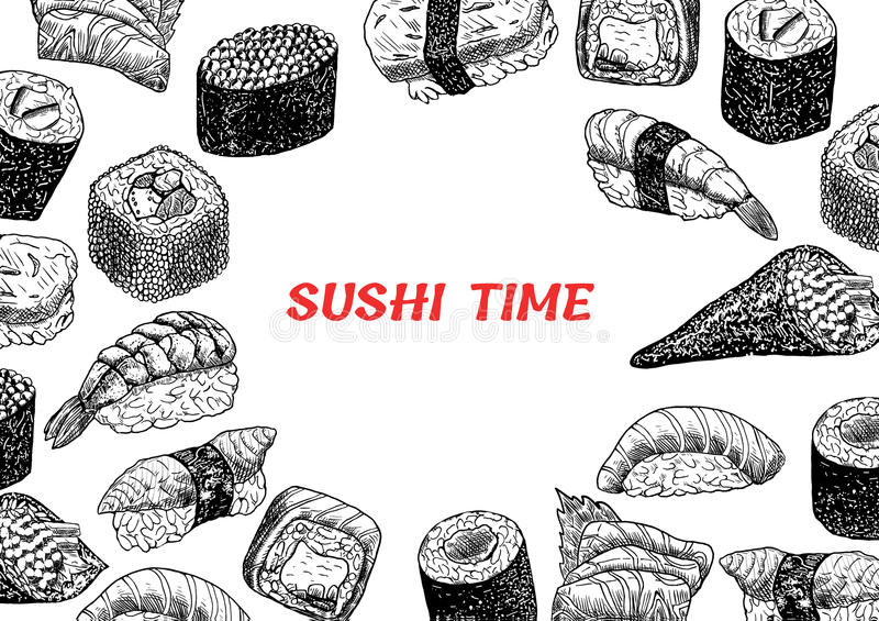 Concept illustration of snack, sushi, exotic nutrition, sea food stock photography