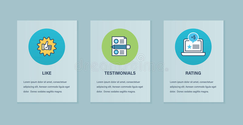 Concept illustration of testimonials, technology, communication, support and marketing. Color Flat Line icons of testimonials, review and system of like, letter stock illustration