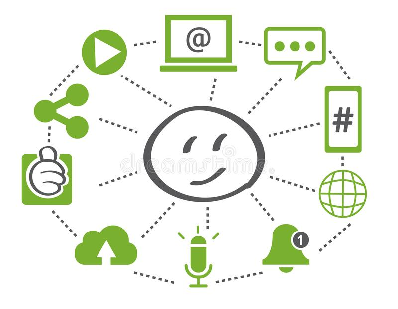 social network connected symbols for digital, interactive and global communication concept. vector illustration