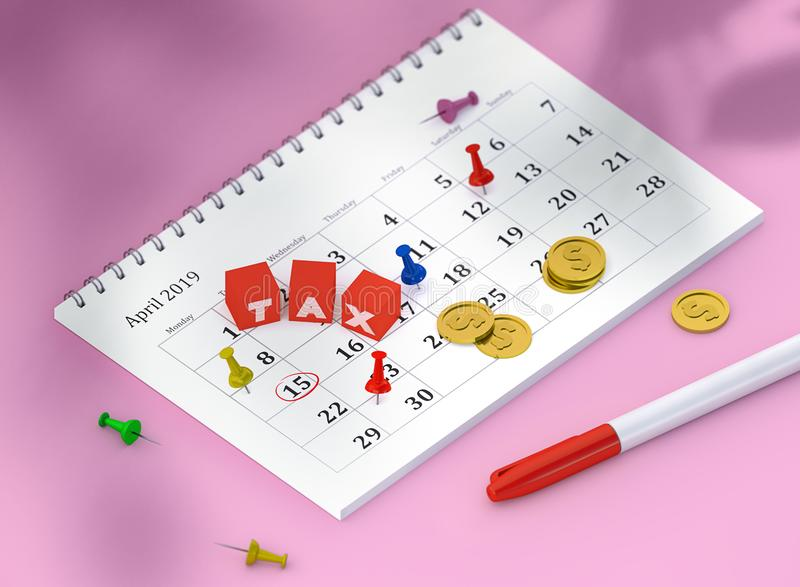Concept image of 15 april calendar with pins and gold coins and cubes with word TAX. royalty free illustration