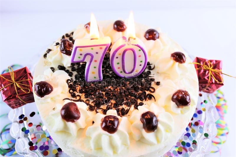 An concept image of a birthday cake with candle - 70. Abstract stock photos