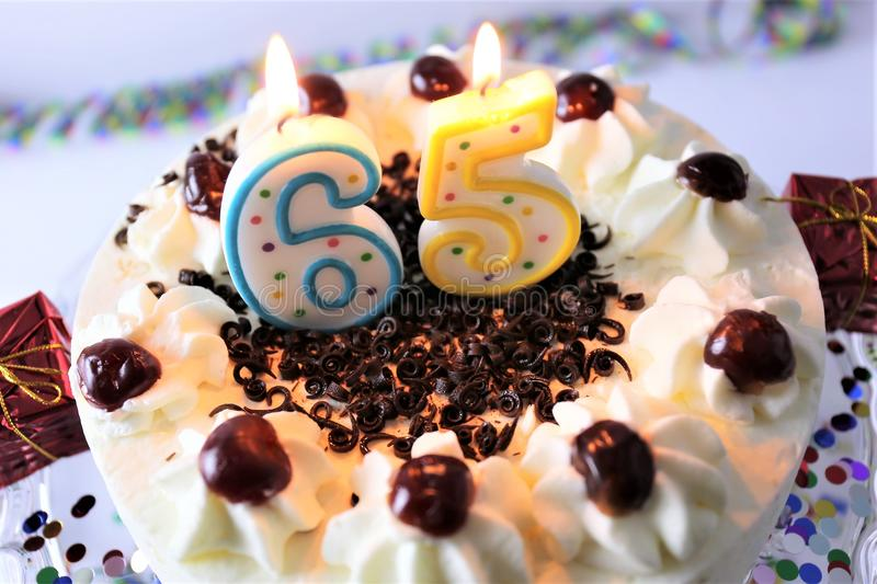 An concept image of a birthday cake with candle - 65 royalty free stock images