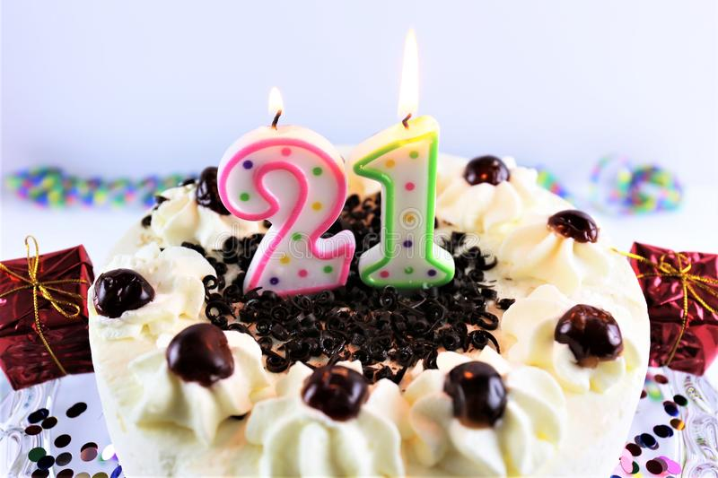 An concept image of a birthday cake with candle - 21. Abstract stock images