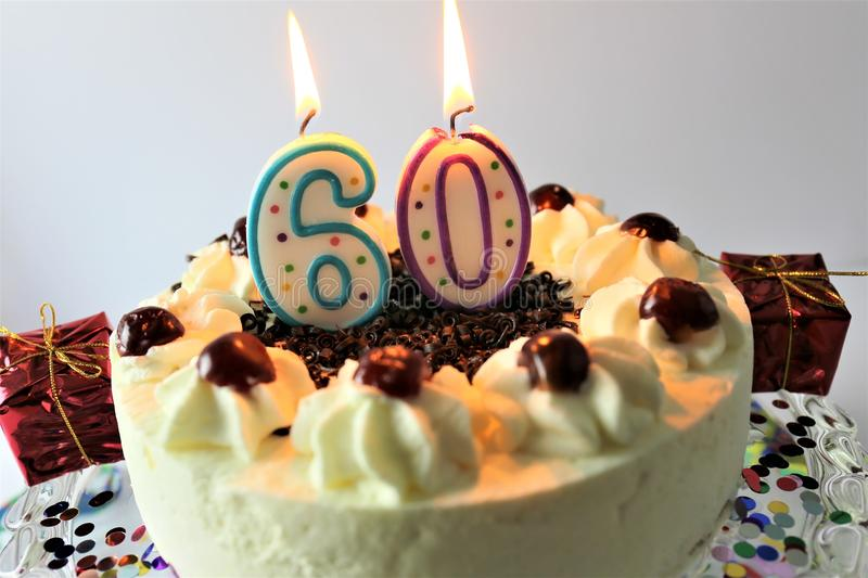 An concept image of a birthday cake with candle - 60. Abstract royalty free stock images