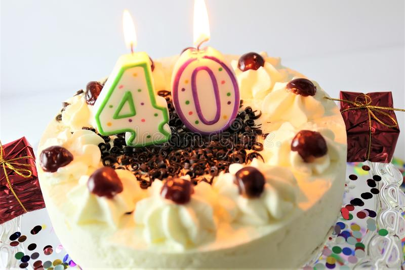 An concept image of a birthday cake with candle - 40. Abstract royalty free stock photos