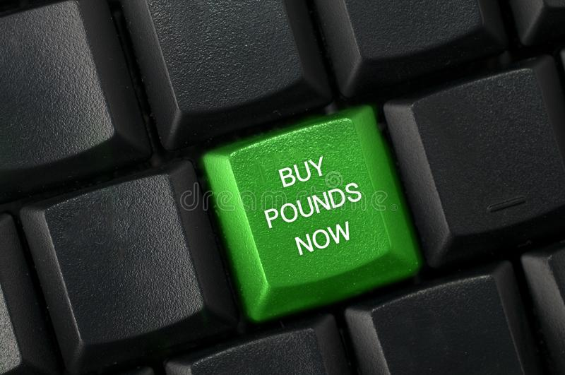 Concept image for Brexit. Green key with text buy pounds now on black computer keyboard. The pound is at its lowest point after. Concept image for Brexit. Green royalty free stock image