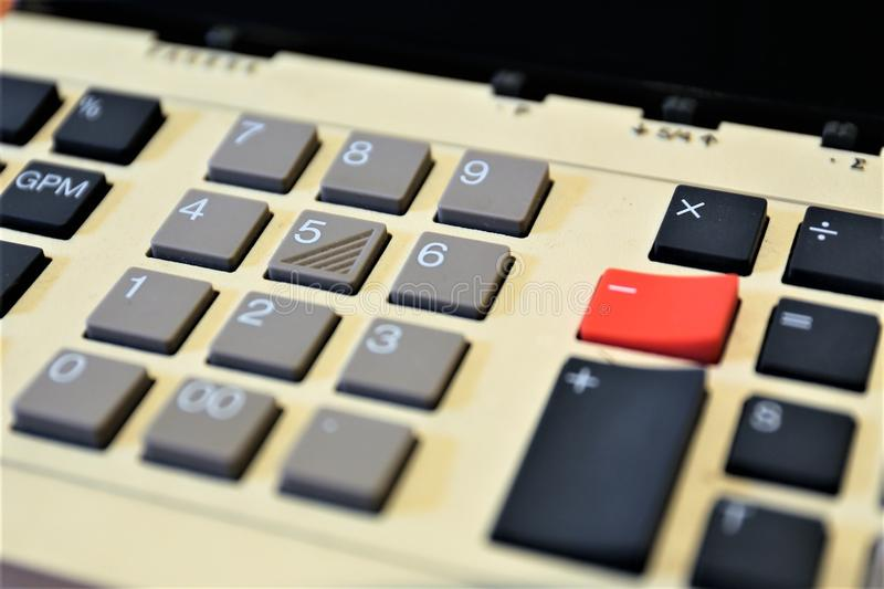 An concept Image of a calculator - machine, banking, business. Abstract royalty free stock image