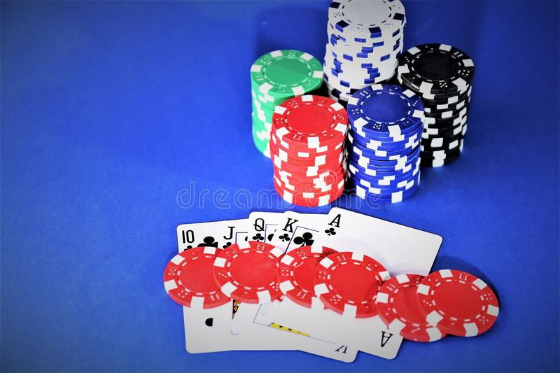 An concept image of a casino poker - with copy space royalty free stock images