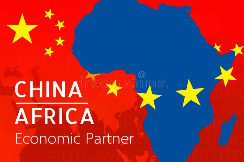 Concept image of China-Africa economic relations, Bilateral trade, China invest Africa stock illustration