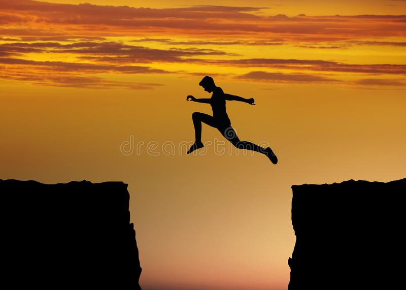 Courage and fitness concept with jump between rocks. Concept image for courage and success with fitness and sport with a person making a big jump between rocks vector illustration