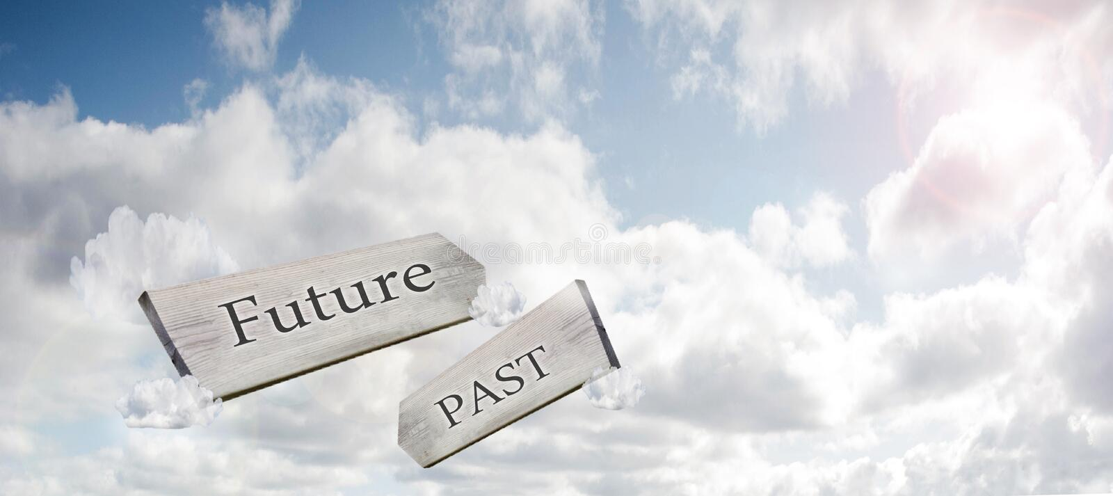 Concept image of Future Past and Present on a signpost against the sky with sunlight 3d rendering stock photography