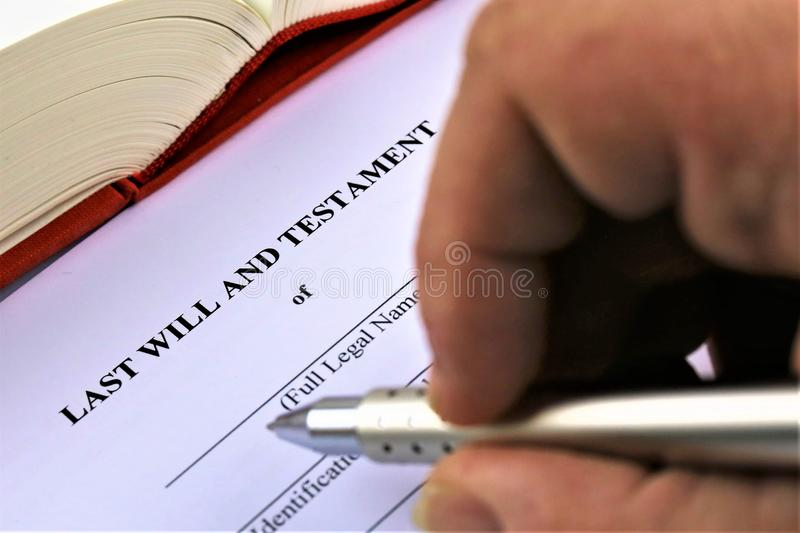 An concept Image of a last will and testament. Abstract royalty free stock photos