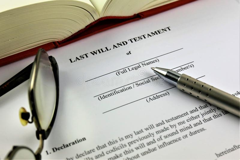 An concept Image of a last will and testament. Abstract stock photos