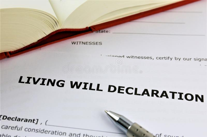 An concept Image of a living will declaration. Abstract, text stock images