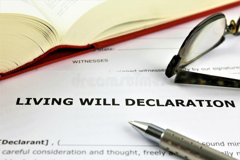 An concept Image of a living will declaration. Abstract, text royalty free stock photos