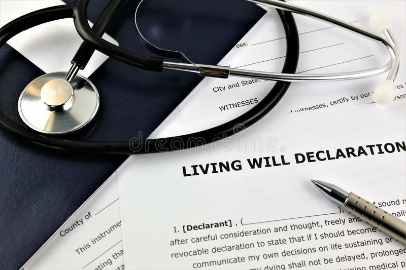 An concept Image of a living will declaration. Abstract, text stock photography