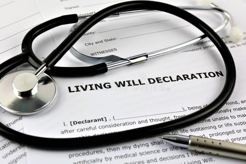 An concept Image of a living will declaration. Abstract, text stock photo