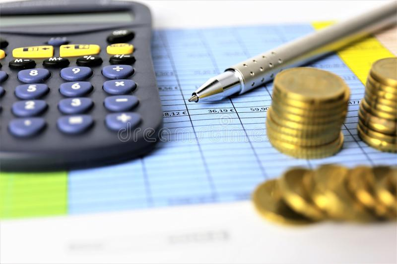 An concept Image of Money, calculator, pen royalty free stock images