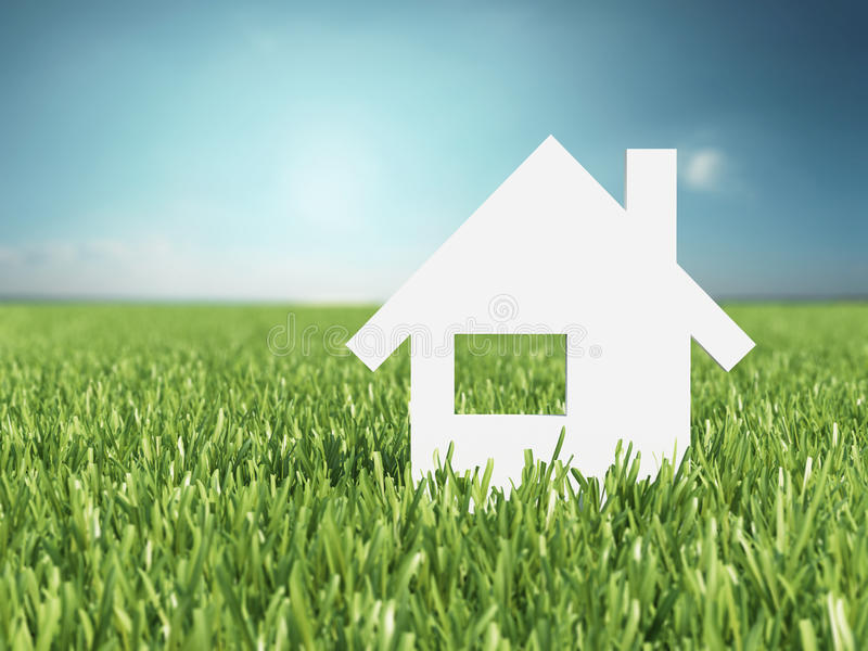Concept image of my house. On grass stock images