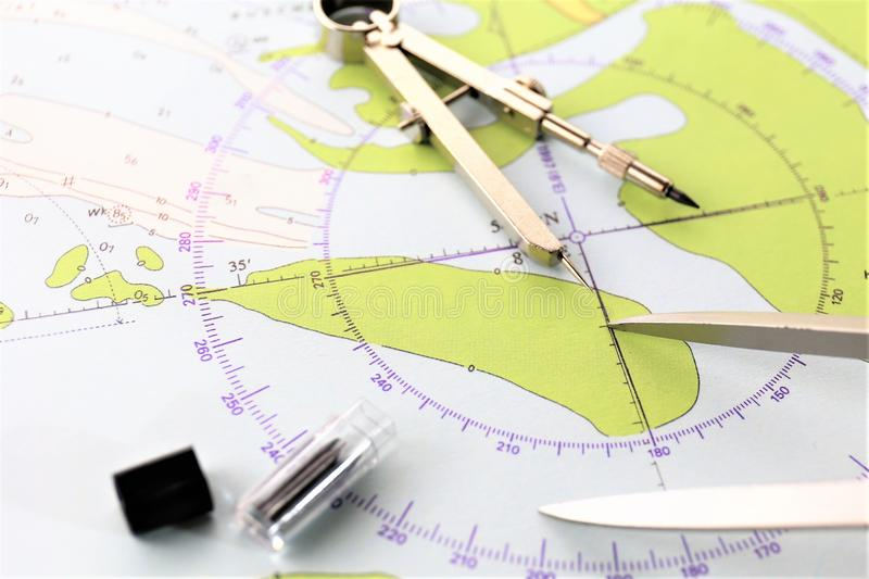 An concept image of a nautical design - map, plan royalty free stock photography