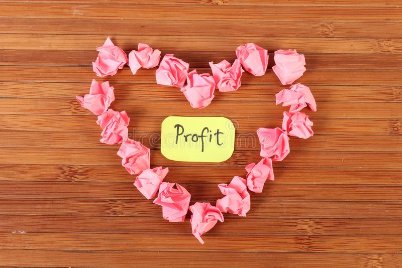 Profit. Concept image of profit on wooden background stock photography