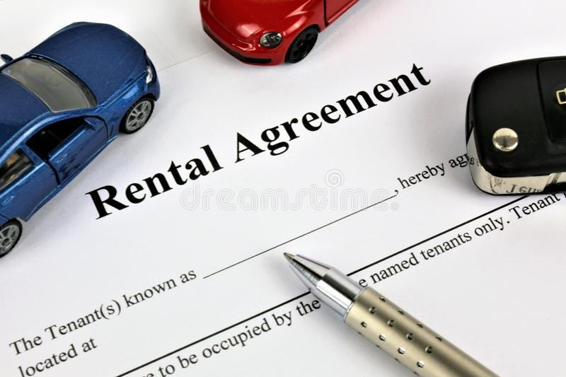 An concept Image of a rental agreement. Car - abstract stock image
