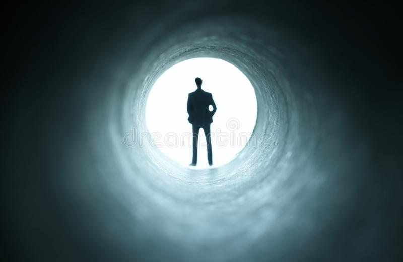 Concept image of seeing the Light at the End of the Tunnel. sci fi or mystery , vintage tones.  stock images