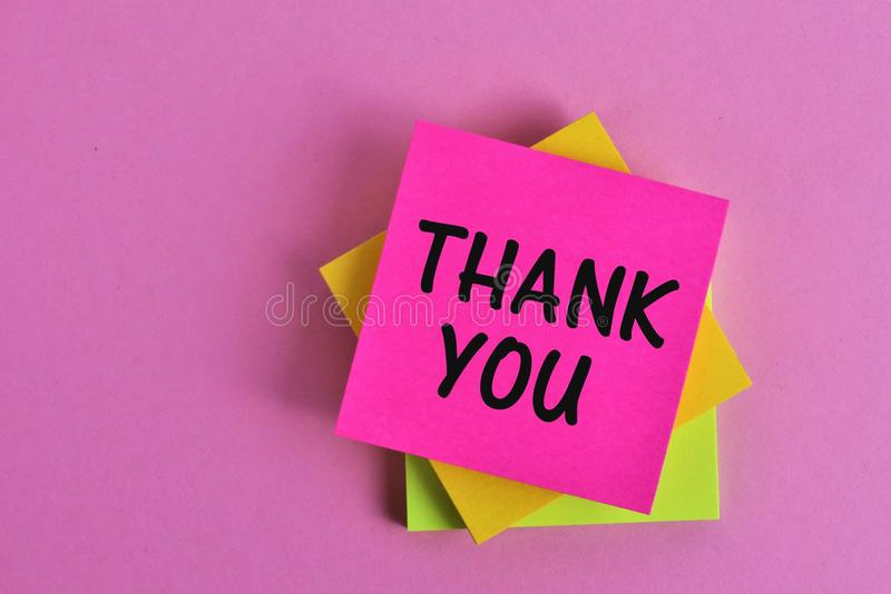 An concept Image of a thank you note - Office, business stock photo