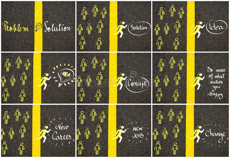 Concept images over road marking yellow paint dividing line vector illustration