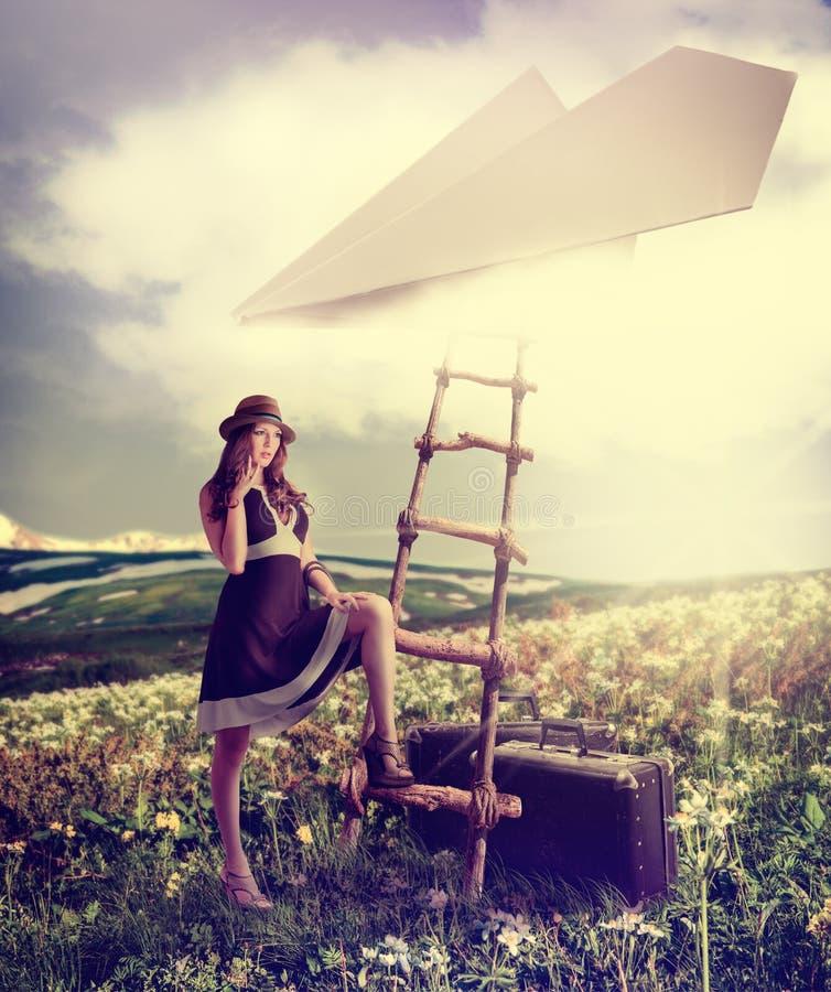 Concept - imagination rêvant du voyage. photos stock